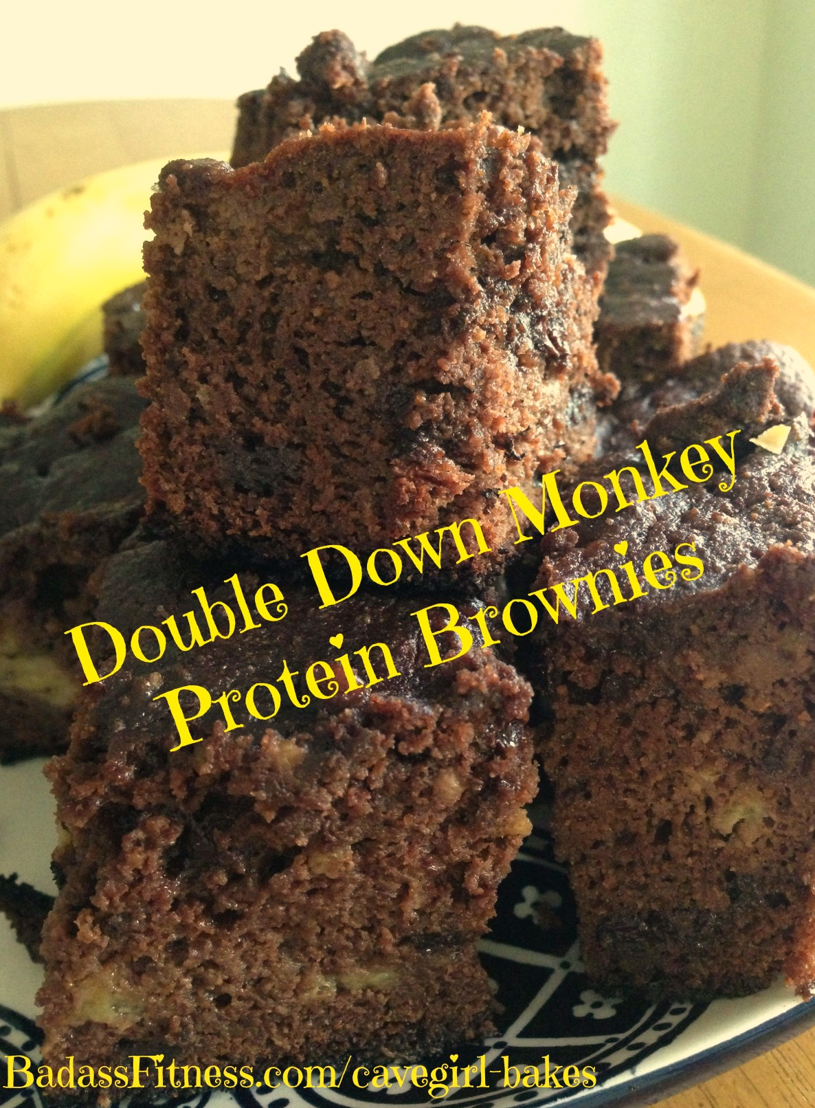 Cave Girl Bakes Double-Down Monkey Protein Brownies